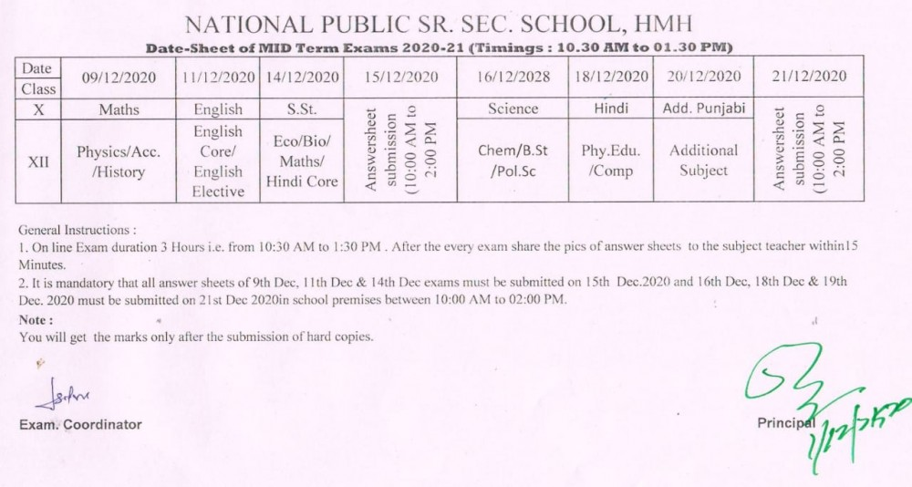 Half Yearly Exams 2020 date sheet